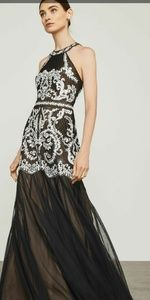 Nwt bcbg black and white embroidered tulle gown